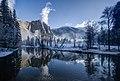 Yosemite Falls reflected in the Merced River (13906432333).jpg