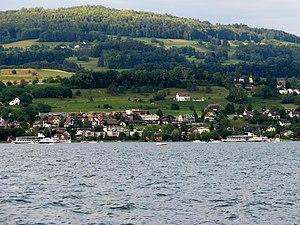 Zürichsee-Schifffahrtsgesellschaft - Paddle steamers Stadt Rapperswil (to the left) and Stadt Zürich on centennial tour, Pfannenstiel mountain in the background (June 2009)