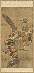 Two Chinese Daoist Immortals, Zhongli Quan (Jongni Gwon)  and Liu Hai (Yu Hae)