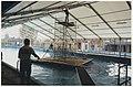 Zwembad de Houtvaart wordt met een staketsel met dekzeil er over om een winter als binnenzwembad te dienen, als vervanging van het in augustus uitgebrandde zwembad de Planeet. NL-HlmNHA 54037219.JPG