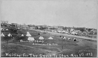 Blackwell, Oklahoma - Boomer camp at Arkansas City, Kansas waiting for Land Run of 1893