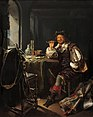 'An Interior with a Soldier Smoking a Pipe' by Frans van Mieris, c. 1657.jpg