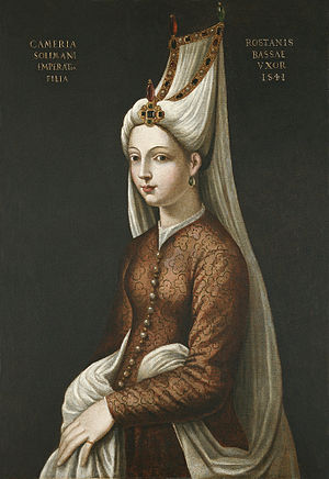 Mihrimah Sultan - Portrait by Cristofano dell'Altissimo titled Cameria Solimani, 16th century