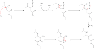 Azide - Image: Γ imino β enamino esters synthesis example using azide