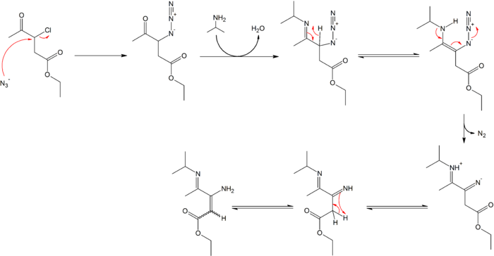 Γ-imino-β-enamino esters synthesis example using azide.png