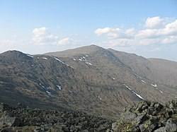 Г. Конжаковский камень (1569 м, Северный Урал) с г. Острая Косьва (1403 м) в июне.jpg