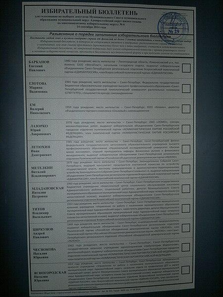 """File:Избирательный бюллетень для голосования на выборах депутатов муниципального округа """"Адмиралтейский округ"""" 14 сентября 2014 года.jpg"""