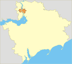 Zaporizhzhia Oblast (yellow) with the City of Zaporizhzhia (orange).