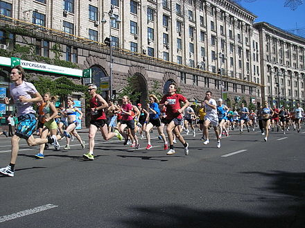 The annual 5.5-kilometre (3.4-mile) 'Run under the Chestnuts' is a popular public sporting event in Kiev, with hundreds taking part every year. Probig pid kashtanami (2011). Start..jpg