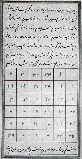 A 6x6 magic square from Book of Wonders (from 16th century manuscript). 16th century arabic magic square.jpg