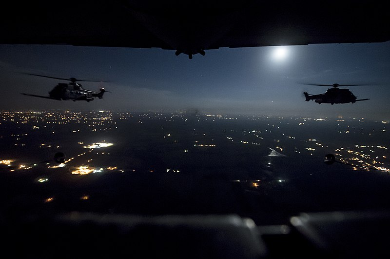 File:180305-F-ER377-0672 (38978267720).jpg Description Two French Air Force EC-725 Super Cougar helicopters receive fuel from a U.S. Air Force MC-130H Combat Talon II during a night mission over northwest Florida as part of Emerald Warrior March 5, 2018. At Emerald Warrior, the largest joint and combined special operations exercise, U.S. Special Operations Command forces train to respond to various threats across the spectrum of conflict. (U.S. Air Force photo by Staff Sgt. Trevor T. McBride)