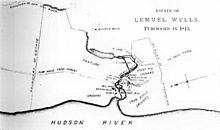 "An old map in black and white showing a smaller river meandering into the Hudson River, along the bottom, with a collection of buildings indicated near the confluence. At the top right is printed ""Estate of Lemuel Wells, Purchased in 1813"
