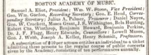 Boston Academy of Music - Boston Academy of Music, 1839