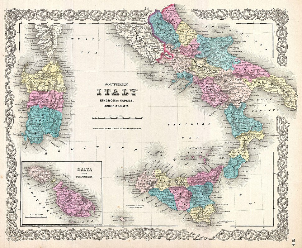 1855 Colton%27s Map of Southern Italy, Sicily, Sardinia and Malta - Geographicus - ItalySouth-colton-1855