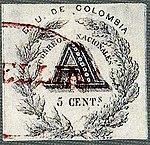 1865 5c Colombia Registration red Medellin ScF2 Mi.jpg