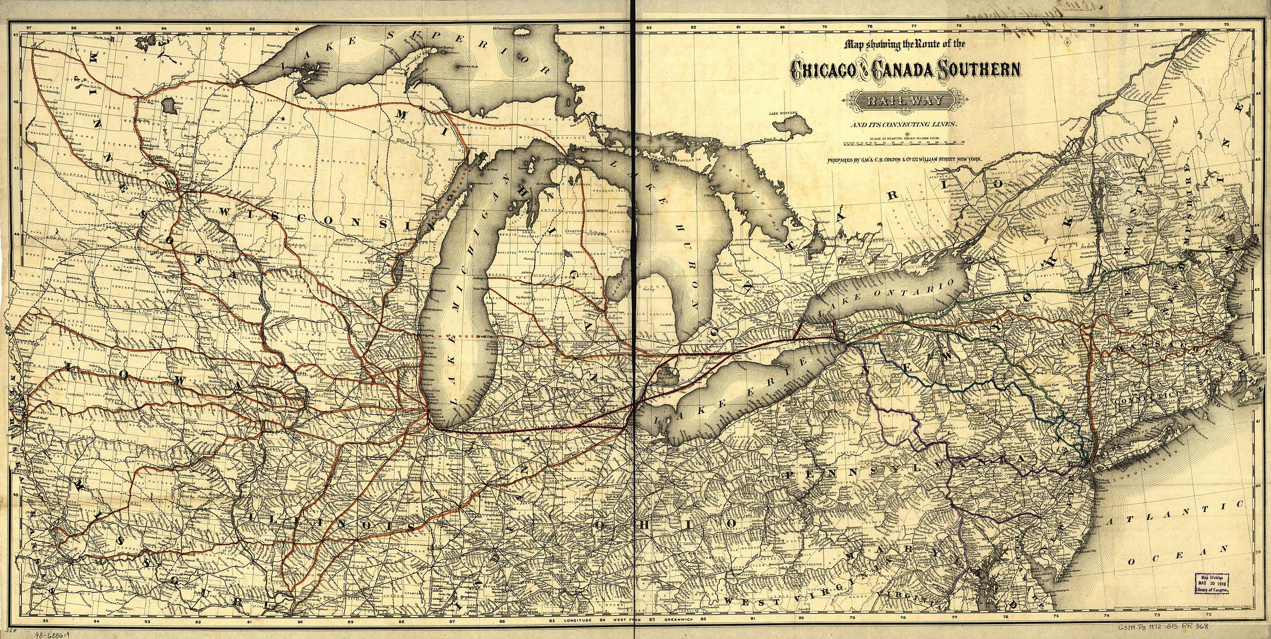 by 1872, the Toledo, Wabash and Western Railway (shown in red) connected Toledo, Fort Wayne, and Lafayette. The original canal, with its slow pace and maintenance issues, struggled to compete with many rail lines in operation in the 1870s.