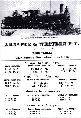 Ahnapee and Western Time Table, 1892