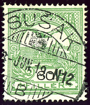 Sušak, Rijeka - Kingdom of Hungary stamp, cancelled SUŠAK in 1913 (Croatia-Slavonia)