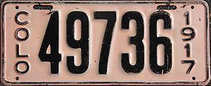 Vehicle registration plates of Colorado - Image: 1917 Colorado license plate