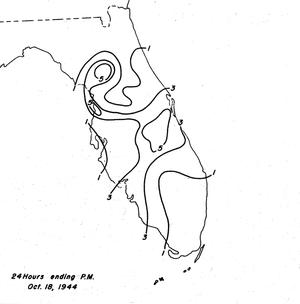 1944 Cuba–Florida hurricane - Rainfall totals from October 18 in Florida
