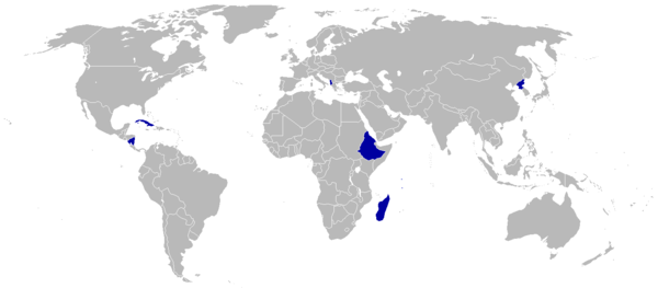 Countries boycotting the 1988 Games are shaded blue 1988 Summer Olympics Seoul boycotting countries blue.png
