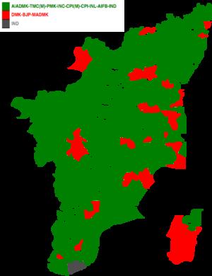 Tamil Nadu Legislative Assembly election, 2001 - Image: 2001 tamil nadu legislative election map