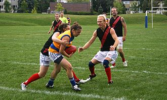 Sports in Canada - A game of Australian rules football between Laval and Pointe-Claire, two teams in AFL Quebec.