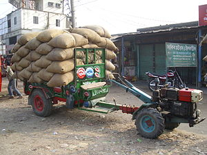 Two-wheel tractor - Sifeng Model 12 HP 2WT with 5.6 tonnes of rice, Bangladesh