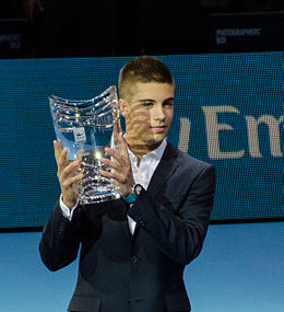 2014-11-12 2014 ATP World Tour Finals Borna Coric receiving trophy for ATP Star of tomorrow 2014 2 by Michael Frey.jpg