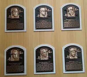 Baseball Hall of Fame balloting, 2014 - The plaques of the Class of 2014 at the Baseball Hall of Fame.