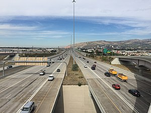 Interstate 15 in Utah - View north along I-15 at the southern junction with I-80 and SR-201 in Salt Lake County