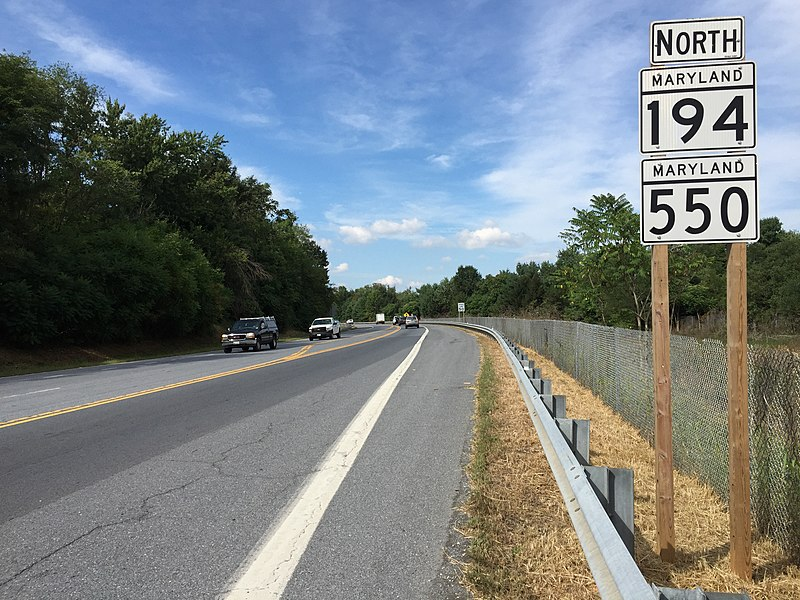 File:2016-09-20 15 16 55 View north along Maryland State Route 194 and Maryland State Route 550 (Woodsboro Pike) just north of Liberty Street in Woodsboro, Frederick County, Maryland.jpg