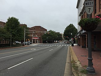 Virginia State Route 7 - View west along SR 7 in downtown Falls Church