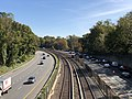 2018-10-25 11 56 28 View east along Interstate 66 (Custis Memorial Parkway) and the Orange and Silver lines of the Washington Metro from the overpass for Patrick Henry Drive in Arlington County, Virginia.jpg