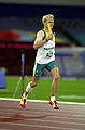 251000 - Athletics track 4 x 400m T46 Tim Matthews gold action - 3b - 2000 Sydney race photo.jpg