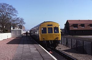 North Berwick railway station - Image: 29.03.86 North Berwick Class 101 DM Us (9600497134)