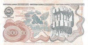 Economy of the Socialist Federal Republic of Yugoslavia - A 2,000,000 dinar bill was introduced in 1989 as a result of the hyperinflation.