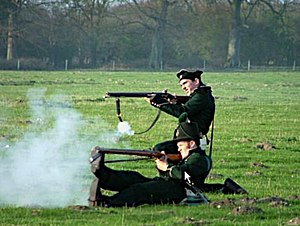 Shorncliffe Redoubt - 95th Rifles re-enactors firing whilst kneeling and in the Plunkett position