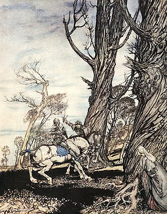 "Le Morte d'Arthur - ""How Sir Launcelot slew the knight Sir Peris de Forest Savage that did distress ladies, damosels, and gentlewomen."" From The Romance of King Arthur (1917). Abridged from Malory's Morte d'Arthur by Alfred W. Pollard. Illustrated by Arthur Rackham"