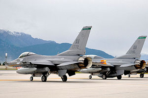 31st Operations Group - F-16C Block 40K (90-0772) and Block 40J (90-0775) of the 555th Fighter Squadron