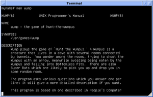 """Hunt the Wumpus - 4.3 BSD man page for Hunt the Wumpus (""""wump"""")"""