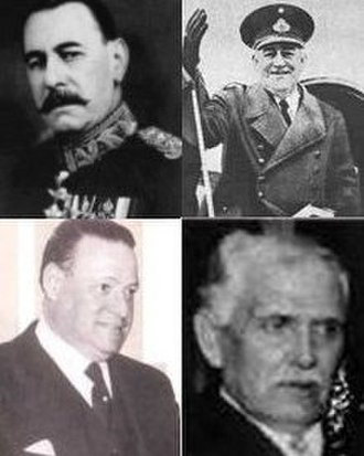 Infamous Decade - The four presidents of the period: Uriburu, Justo, Ortiz and Castillo