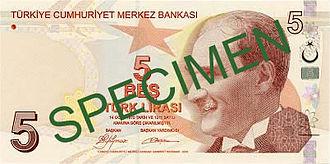 Turkish lira - Image: 5 Türk Lirası front