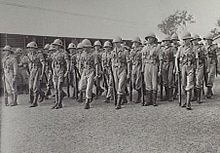 Soldiers standing with rifles on parade