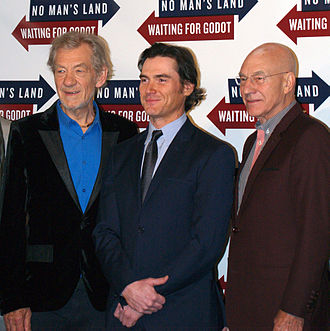 Patrick Stewart - Stewart with actors Ian McKellen and Billy Crudup at a 24 September 2013 press junket at Sardi's restaurant for Waiting for Godot and No Man's Land