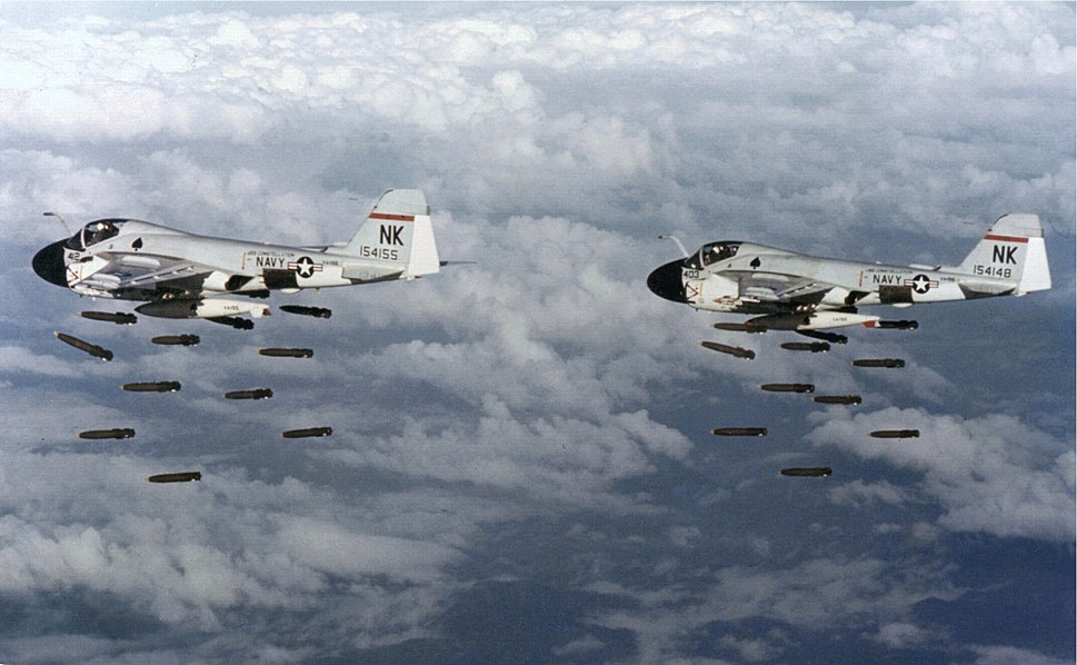 A-6A Intruders of VA-196 dropping Mk 82 bombs over Vietnam on 20 December 1968 (NNAM.1996.253.7047.013)