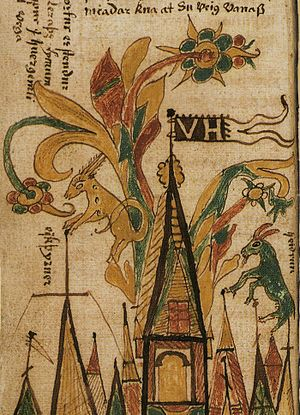 Eikþyrnir - Eikþyrnir and Heiðrún have fun on top of Valhalla in this illustration from a 17th-century Icelandic manuscript.