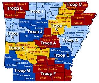 Arkansas State Police - Image: ARHP Troop Map
