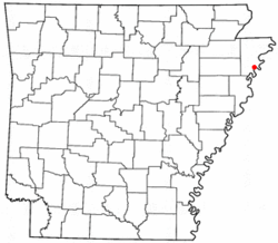 Location of Reverie, Tennessee, on the state map of Arkansas