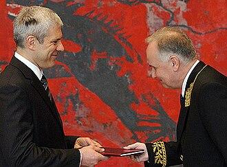 Diplomatic uniform - Russian ambassador Alexander Konuzin in uniform, presenting his letters of credence to the Serbian President Boris Tadić, 2008